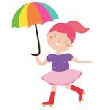 Circus girl with umbrella. Vector illustration Circus girl with umbrella Royalty Free Stock Image