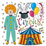 Circus hand drawn collection with colorful clown, balloon,  tent and magic rabbit. Happy birthday decorations for kids party Royalty Free Stock Images