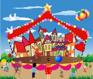 The circus has arrived,. Cheerful composition of circus performances in town Royalty Free Stock Photography