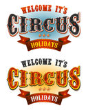 Circus Holidays Welcome Banners. Illustration of a set of retro circus welcome banners, for carnival and festive cirque holidays and events Royalty Free Stock Photo
