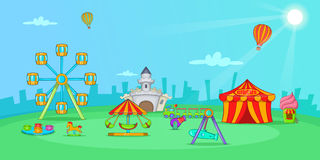 Circus horizontal banner landscape, cartoon style Stock Photography