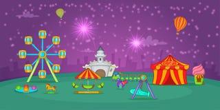 Circus horizontal banner starry sky, cartoon style Royalty Free Stock Photos