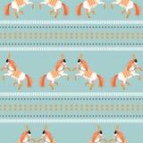 Circus horse tribal seamless vector blue pattern. vector illustration