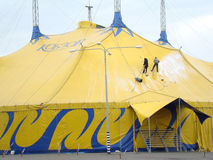 Circus. A huge tent wash two people brushes photo taken in the city of Dnepropetrovsk on 9 may 2015 Royalty Free Stock Image