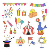 Circus icon set with circus equipment Royalty Free Stock Images