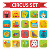 Circus icon set, flat, cartoon style. Set  on a white background with elephant, lion, Sealion, gun, clown Stock Images