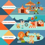 Circus icons flat banner set. Circus entertainment flat banner set with exotic animals exciting performance isolated vector illustration Stock Images