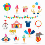 Circus icons in a flat style Royalty Free Stock Photo