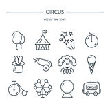 Circus icons line set. Stock Image