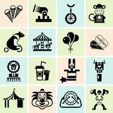 Circus icons set black. Circus entertainment black icons set with juggler lion icecream isolated vector illustration Stock Photos