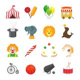 Circus Icons Set. Circus caravan rabbit elephant tricks and magical hat hocus pocus performance funny color icons set isolated vector illustration Stock Images