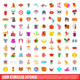 100 circus icons set, cartoon style. 100 circus icons set in cartoon style for any design vector illustration Stock Image