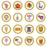 Circus Icons set, cartoon style. Circus Icons set in cartoon style isolated on white background Royalty Free Stock Photography