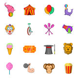 Circus Icons set, cartoon style. Circus Icons set in cartoon style  on white background Stock Photography