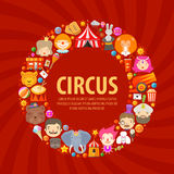 CIRCUS ICONS SET. Collection of elements of clown Royalty Free Stock Images