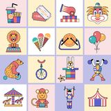 Circus icons set flat line Stock Photos