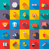 Circus Icons set, flat style Royalty Free Stock Photo