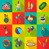 Circus icons set, flat style. Circus icons set. Flat illustration of 16 circus vector icons for web Royalty Free Stock Image