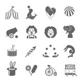 Circus Icons Set. Circus graphic pictograms of juggling sealion acrobat stunt collection black icons set isolated vector illustration Royalty Free Stock Photography