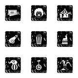 Circus icons set, grunge style. Circus icons set. Grunge illustration of 9 circus vector icons for web Royalty Free Stock Photography