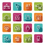 Circus icons set in linear style. With shadow Stock Image