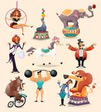Circus Icons Set. Circus performance decorative icons set with athlete animals magician vector illustration Royalty Free Stock Photos