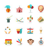 Circus icons set. Circus tent with monkey and lion and clown magical wand triks icons set flat isolated vector illustration Royalty Free Stock Photos