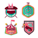 Circus icons vector set of clown, magic hat and rabbit. Circus logo templates set of magician hat with rabbit, equilibrist unicycle bicycle, cannon and tent Royalty Free Stock Images