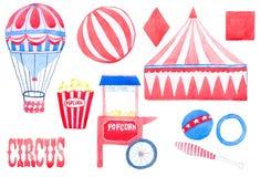 circus Insieme disegnato a mano con gli elementi del circo Disegno reale dell'acquerello Illustrazione di vettore illustrazione di stock