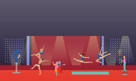 Circus interior concept vector banner. Acrobats and artists perform show in arena. Stock Photos