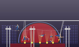 Circus interior concept vector banner. Acrobats and artists perform show in arena Stock Photography