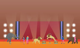 Circus interior concept vector banner. Artists perform show in arena. Animals performance. Stock Photos