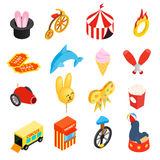 Circus isometric 3d icons set Stock Image