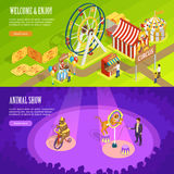 Circus Isometric Horizontal Banners Webpage Design Stock Photo