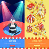 Circus Isometric Vertical Banners Webpage Design Royalty Free Stock Photo