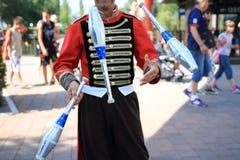 Circus jugglers. Ninepins fun red Royalty Free Stock Image