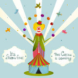 Circus Juggling Clown Carnival Show Vintage Poster. Fun and cute fair performance vintage cartoon card. Vector illustration Stock Images
