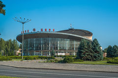 Circus in Krivoy Rog, Ukraine. Krivoy Rog, Ukraine - July 24, 2015: Circus in Krivoy Rog, Ukraine. Building that looked like a flying saucer worked best troupe royalty free stock photos
