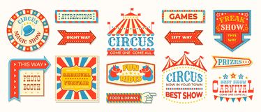 Circus labels. Carnival retro banner signs, vintage magic frames and arrows elements, welcome the show greetings. Vector stock illustration