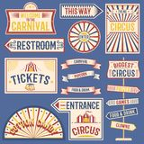 Circus labels carnival show banner vintage label elements for circus design on the party theme. Collection of symbols stock illustration