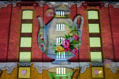 Circus of Light wall display with tea pot Lumiere exhibition Royalty Free Stock Photos