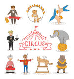 Circus line art design collection with carnival fun fair Stock Photos