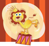Circus lion. Trained lion acts in circus show vector illustration