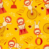Circus lions seamless pattern Stock Photos