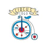 Circus logo design, emblem with retro bike for amusement park, festival, party, creative template of flyear, posters. Cover, banner, invitation vector vector illustration