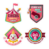 Circus logo labels in colors isolated on white Stock Photos
