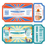 Circus magic show entrance tickets templates. Vector illustration Royalty Free Stock Photography