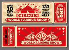 Circus magic show entrance vector tickets templates Stock Image