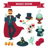 Circus magician man with magic show vector accessories Stock Photography