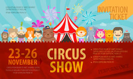 circus Manifesti o biglietto del modello di progettazione Vettore illustrazione di stock